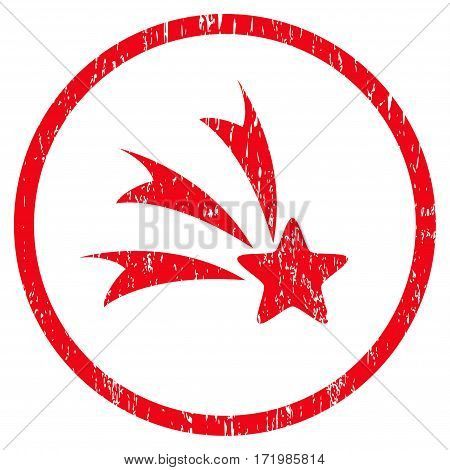 Falling Star grainy textured icon for overlay watermark stamps. Rounded flat vector symbol with unclean texture. Circled red ink rubber seal stamp with grunge design on a white background.