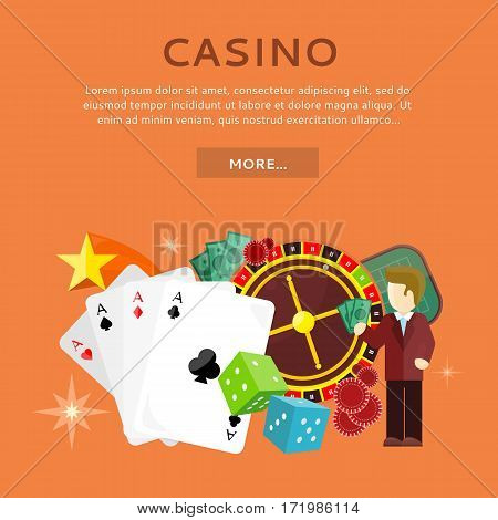 Casino gambling website template. European roulette wheel, chips, croupier, craps dice and playing cards on orange background. Banner for online casino. Vector illustration. Casino background