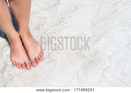 The Lake With Salt Water. Baskunchak . Feet On The Shore