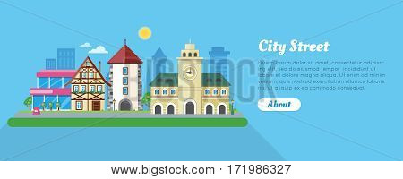 Sunny city street banner. Medieval city hall, stone tower, fachwerk house, modern buildings and skyscraper flat vectors. Historic district in Europe. For travel company, tourist attraction web page