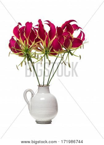 White vase with a bouquet of glory lilies flowers isolated on a white background