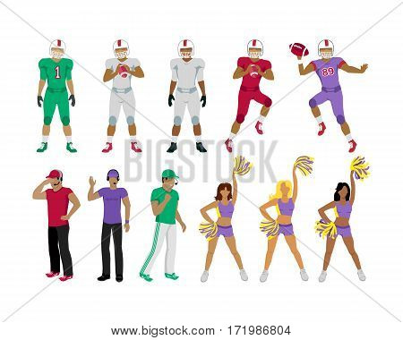 Collection of icons of american college football players. Three football coaches. Cheerleading girl teams. Three standing men. Two jumping and throwing balls players underneath. Flat design. Vector