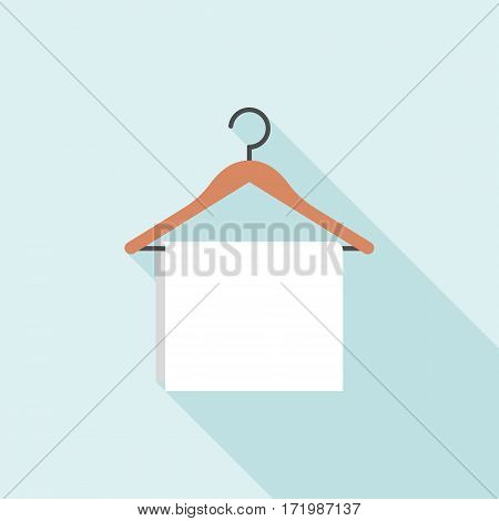 Towel Hanging on wooden hanger, flat design with long shadow for hotel and laundry service
