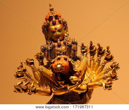 St. Petersburg, Russia - Jul 4, 2014: Bronze Tibetan Statue Of 18Th Century In Museum Of History Of