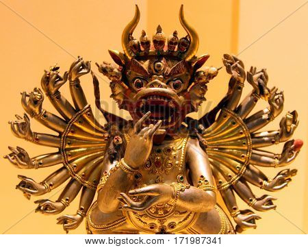 St. Petersburg, Russia - Jul 4, 2014: Bronze Tibetan Statue Of 19Th Century In Museum Of History Of