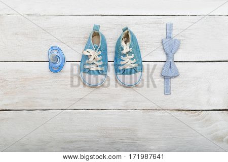 Accessories for the boy dummybow-tie shoes. Flat lay
