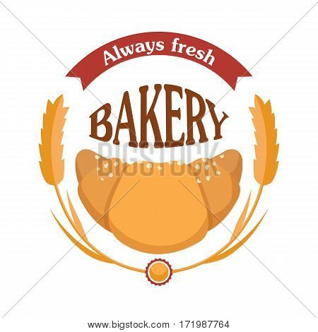 Always fresh bakery. Croissant icon with wheat. Tasty bakery logo. Sign symbol for confectionery bread shop. Isolated fresh baked bun. Some white crumbs. Flat design. Vector illustration