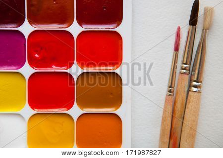 Watercolors And Old Brushes Isolated On The White Background, Close Up. Top View, Flat Lay.