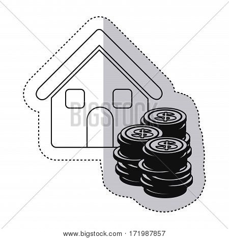 sticker monochrome contour with house and stacking coins vector illustration