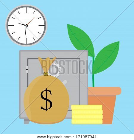 Savings money vector. Bank deposit growth illustration