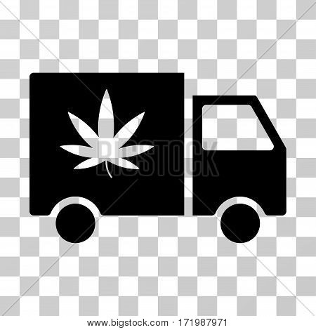 Cannabis Delivery Van vector icon. Illustration style is a flat iconic black symbol on a transparent background.