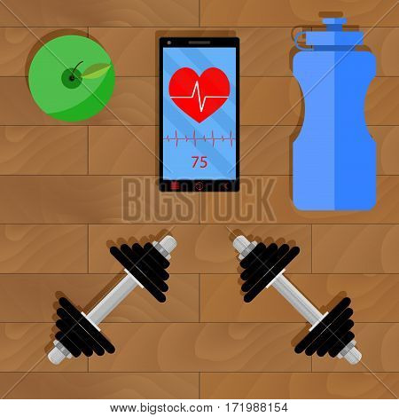 Active training with dumbbell. Exercise fitness and sport activity gym illustration