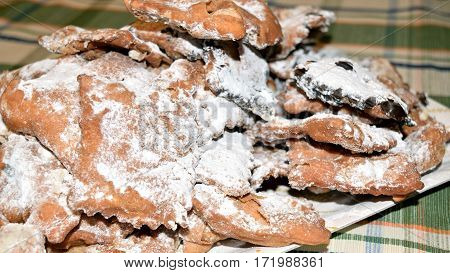 Ciacchiere are a typical Italian sweets usually prepared during the period of Carnival