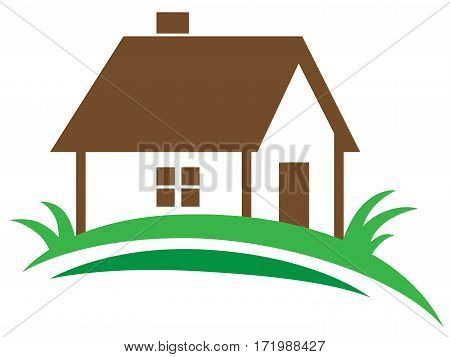 Real estate vector icon on a white background. House and green grass