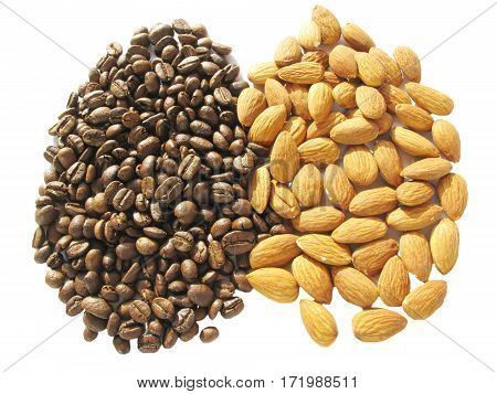 coffee in grains and nuts food isolated