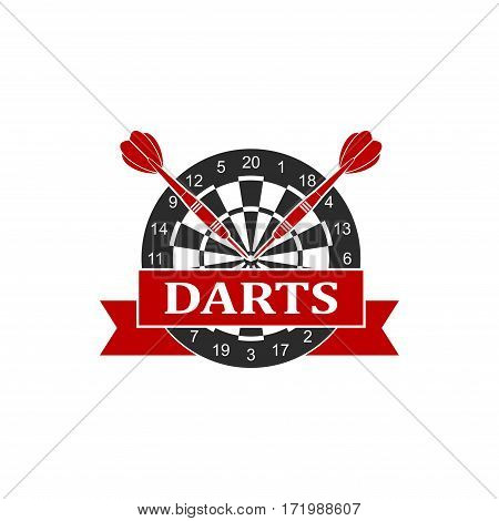 Darts label sports emblem and symbol isolated on white background. Dart board target with darts arrow icon. Vector Illustration