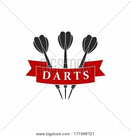 Darts label sports emblem and symbol isolated on white background. Darts arrows icon. Vector Illustration