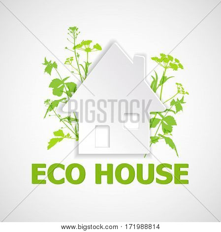 White paper house and green plants. Ecology building concept.