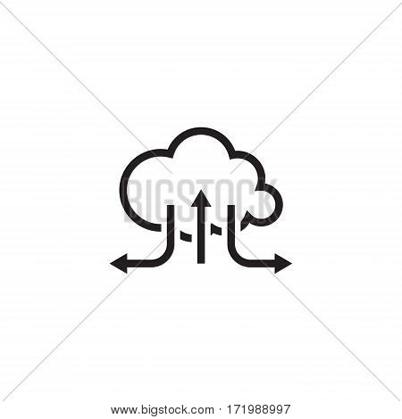 Online Cloud Solutions. Flat Design Icon Isolated Illustration.