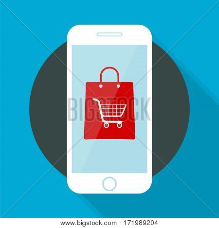 Mobile Commerce Icon shopping on blue background