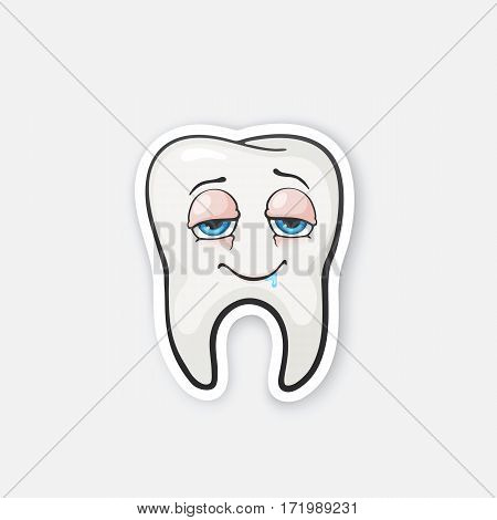 Vector illustration. Happy tooth drunk tooth with eyes. Oral hygiene. Cartoon sticker in comics style with contour. Decoration for greeting cards, posters, patches, prints for clothes, emblems