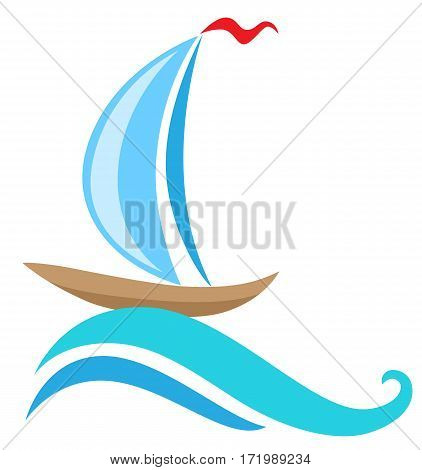 Vector sailing ship and blue wave. Travel concept.