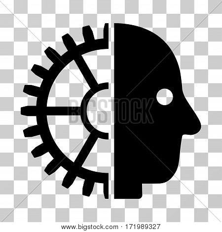 Cyborg Head vector pictogram. Illustration style is a flat iconic black symbol on a transparent background.