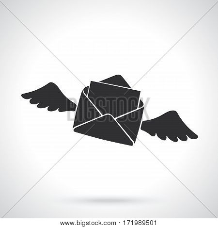 Vector illustration. Silhouette of flying opened envelope with wings. Template or pattern. Incoming message has been read. Decoration for greeting cards, wallpapers, emblems