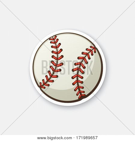 Vector illustration. Leather baseball ball. Cartoon sticker in comics style with contour. Decoration for greeting cards, posters, patches, prints for clothes, emblems