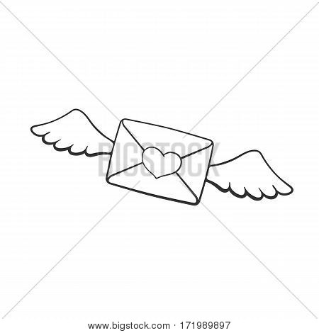 Vector illustration. Hand drawn doodle of flying closed envelope with wax heart heart and wings. Not read incoming message. Cartoon sketch. Decoration for greeting cards, posters, emblems