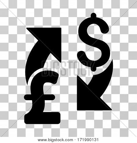 Dollar Pound Exchange vector pictograph. Illustration style is a flat iconic black symbol on a transparent background.