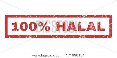 100 Percent Halal text rubber seal stamp watermark. Caption inside rectangular shape with grunge design and dust texture. Horizontal vector red ink sign on a white background.