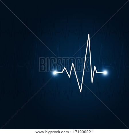 Heart Pulse Blue Background