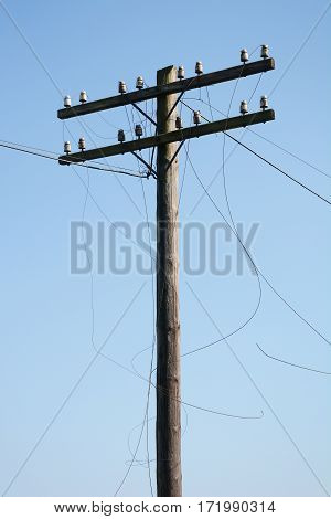 Electric post power pole. Close up on Wire breakage.