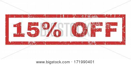 15 Percent Off text rubber seal stamp watermark. Caption inside rectangular banner with grunge design and dirty texture. Horizontal vector red ink emblem on a white background.