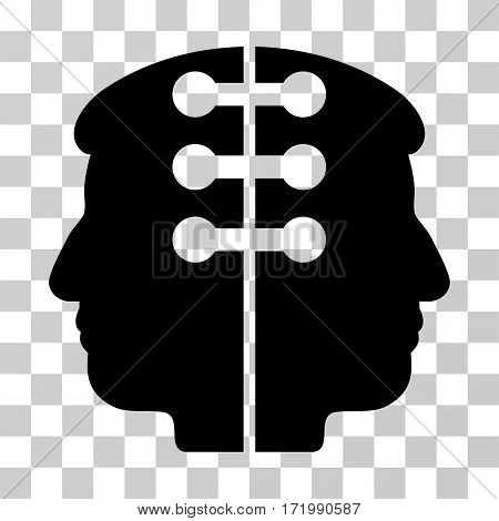 Dual Head Interface vector pictogram. Illustration style is a flat iconic black symbol on a transparent background.