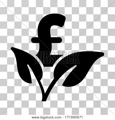 Eco Pound Business Startup vector icon. Illustration style is a flat iconic black symbol on a transparent background.