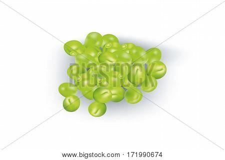 Shelled raw sweet peas on white background