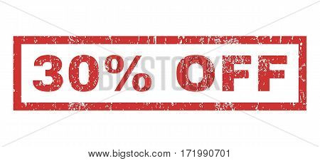 30 Percent Off text rubber seal stamp watermark. Tag inside rectangular shape with grunge design and unclean texture. Horizontal vector red ink sign on a white background.