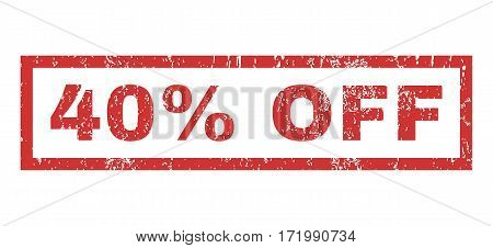 40 Percent Off text rubber seal stamp watermark. Caption inside rectangular banner with grunge design and unclean texture. Horizontal vector red ink sticker on a white background.