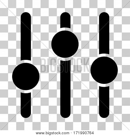 Equalizer vector pictograph. Illustration style is a flat iconic black symbol on a transparent background.