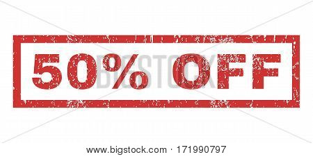 50 Percent Off text rubber seal stamp watermark. Caption inside rectangular banner with grunge design and dust texture. Horizontal vector red ink emblem on a white background.