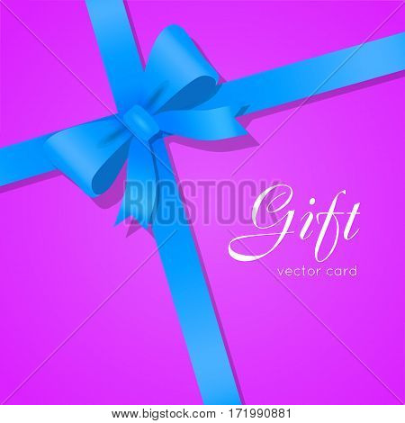 Gift card vector illustration on violet background, luxury wide gift bow with blue ribbon and space frame for text, gift wrapping template for banner, poster design. Simple cartoon style. Flat design