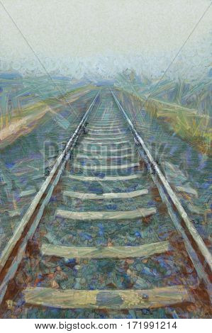 Railroad Goes Into The Mist. Gray Misty Autumn Morning.