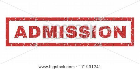Admission text rubber seal stamp watermark. Caption inside rectangular shape with grunge design and scratched texture. Horizontal vector red ink sign on a white background.
