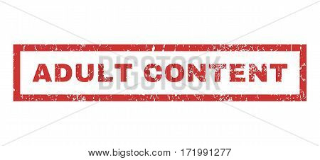 Adult Content text rubber seal stamp watermark. Tag inside rectangular shape with grunge design and unclean texture. Horizontal vector red ink sign on a white background.