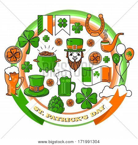 Vector set of St. Patrick's Day icon. Holiday Irish design elements. Traditional irish symbols in modern line style for Web and Print. Isolated on white background.