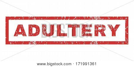 Adultery text rubber seal stamp watermark. Tag inside rectangular banner with grunge design and scratched texture. Horizontal vector red ink sticker on a white background.
