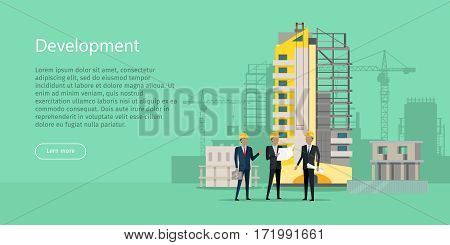 Development. Three businessmen in yellow helmets discussing new project. Bag of money. Unfinished high yellow building behind. Industrial cranes. Web Banner. Cartoon design. Flat style. Vector