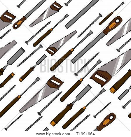 Pattern from various Carpentry. Woodworking tools of antique joinery - Craft Woodwork Screwdriver Table Hammer, Carpenter.